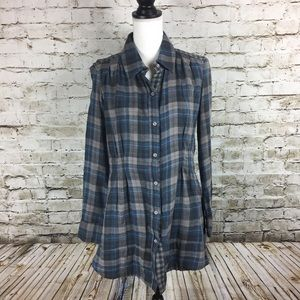 Zoa by Anthropologie plaid flannel tunic